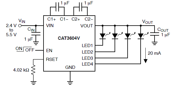 CAT3604V: LED Driver, 4-Channel