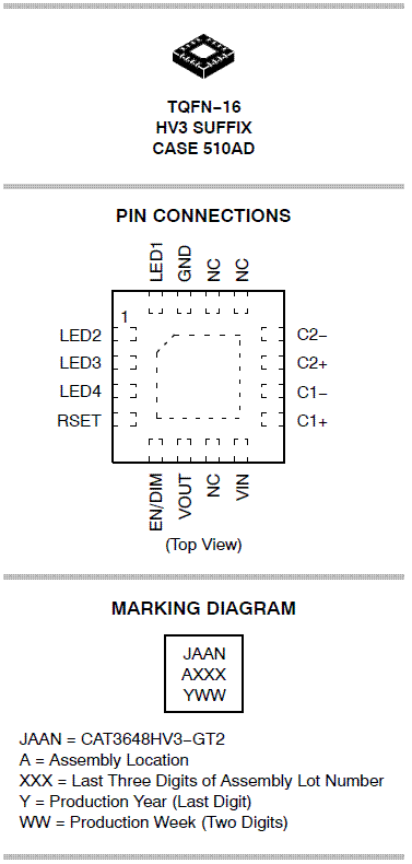 CAT3648: LED Driver, 4-Channel with 32 Dimming Levels