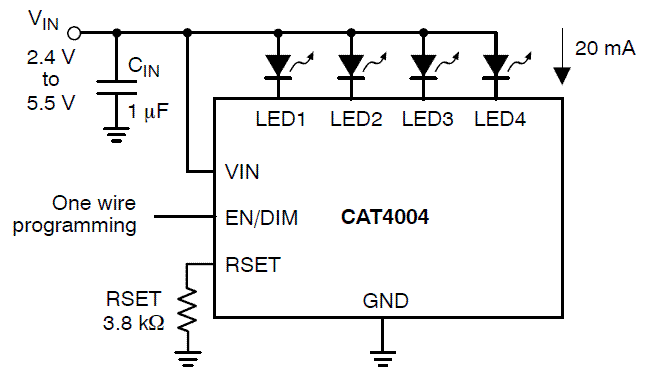 CAT4004: LED Driver, Constant Current, 4-Channel, with EZDim™