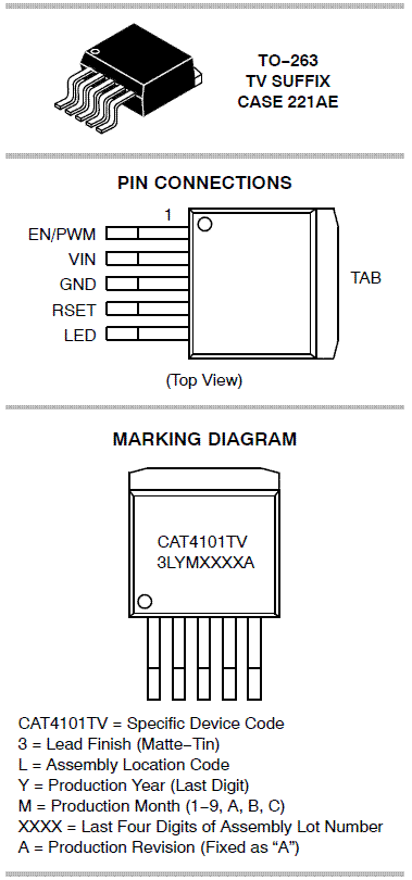 CAT4101: LED Driver, 1 A Constant Current with PWM