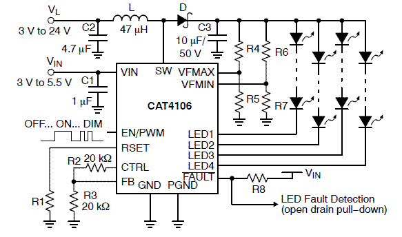 CAT4106: LED Driver, 4-Channel, 6 Watt with Diagnostics