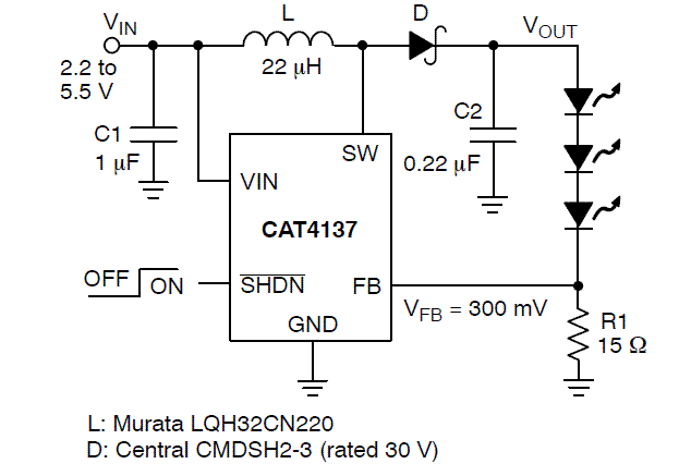 CAT4137: White LED Driver, CMOS Boost Converter