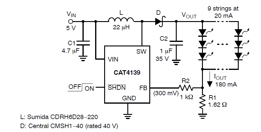 CAT4139: White LED Driver, High Current Boost, 22 V