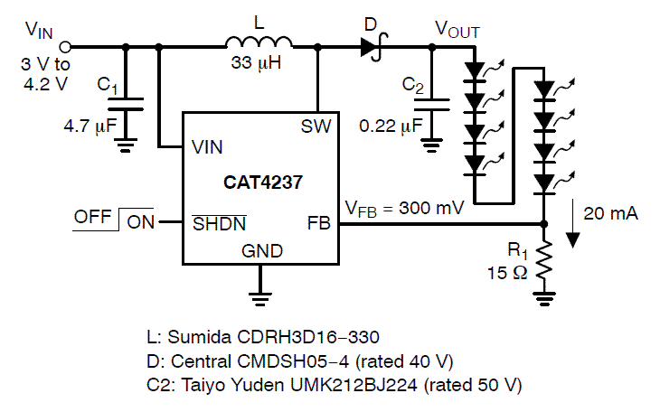 CAT4237: White LED Driver, CMOS Boost Converter, High Voltage