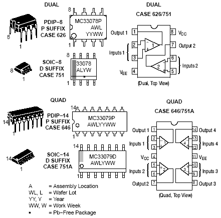 MC33079: Operational Amplifier, Low Noise, Quad