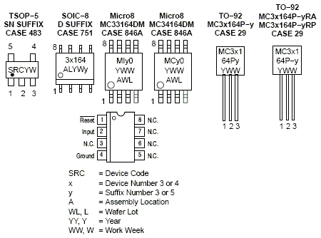 NCV33164: Voltage Supervisor, Undervoltage Sensing Circuit, Micropower, with Open Collector Output, Qualified for 3.0 V Systems