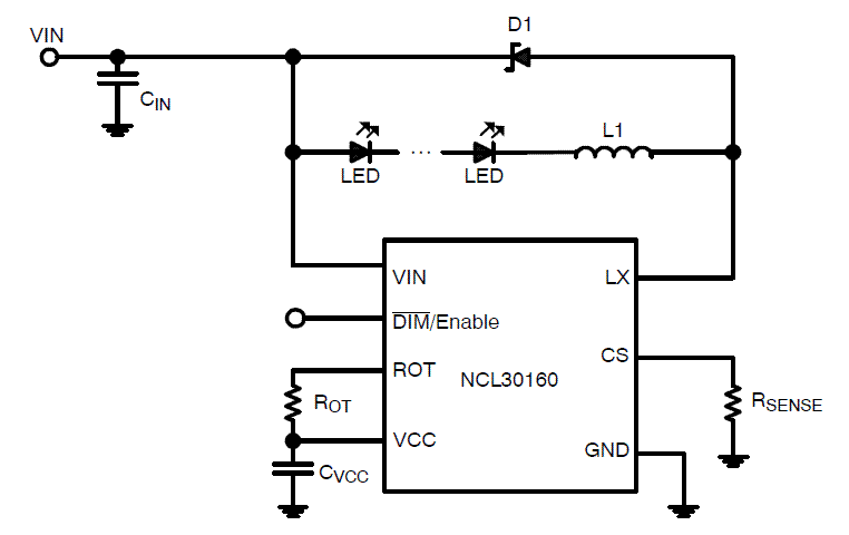 NCL30160: LED Driver, Constant Current Buck Regulator, 1.0 A