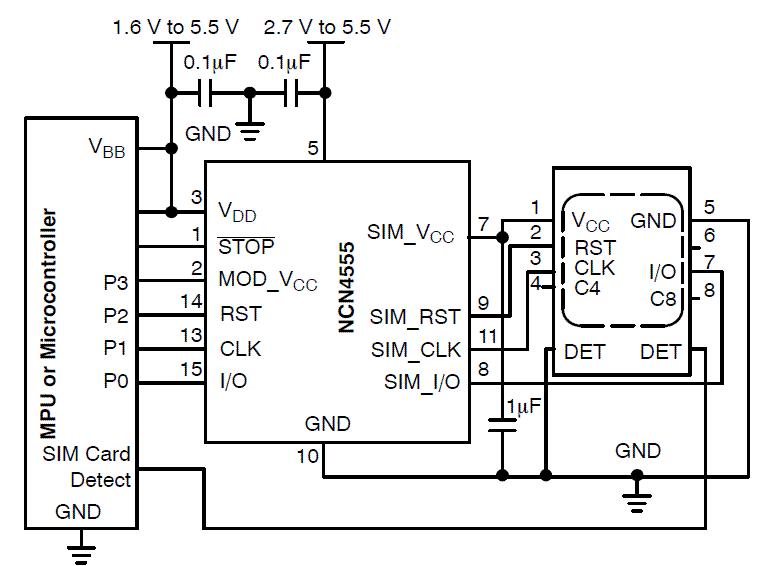 Ncn4555 Sim Card Power Supply And Level Translator