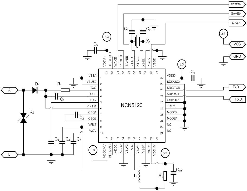 NCN5120: KNX Transceiver for Twisted Pair Networks - NOT RECOMMENDED FOR NEW DESIGNS
