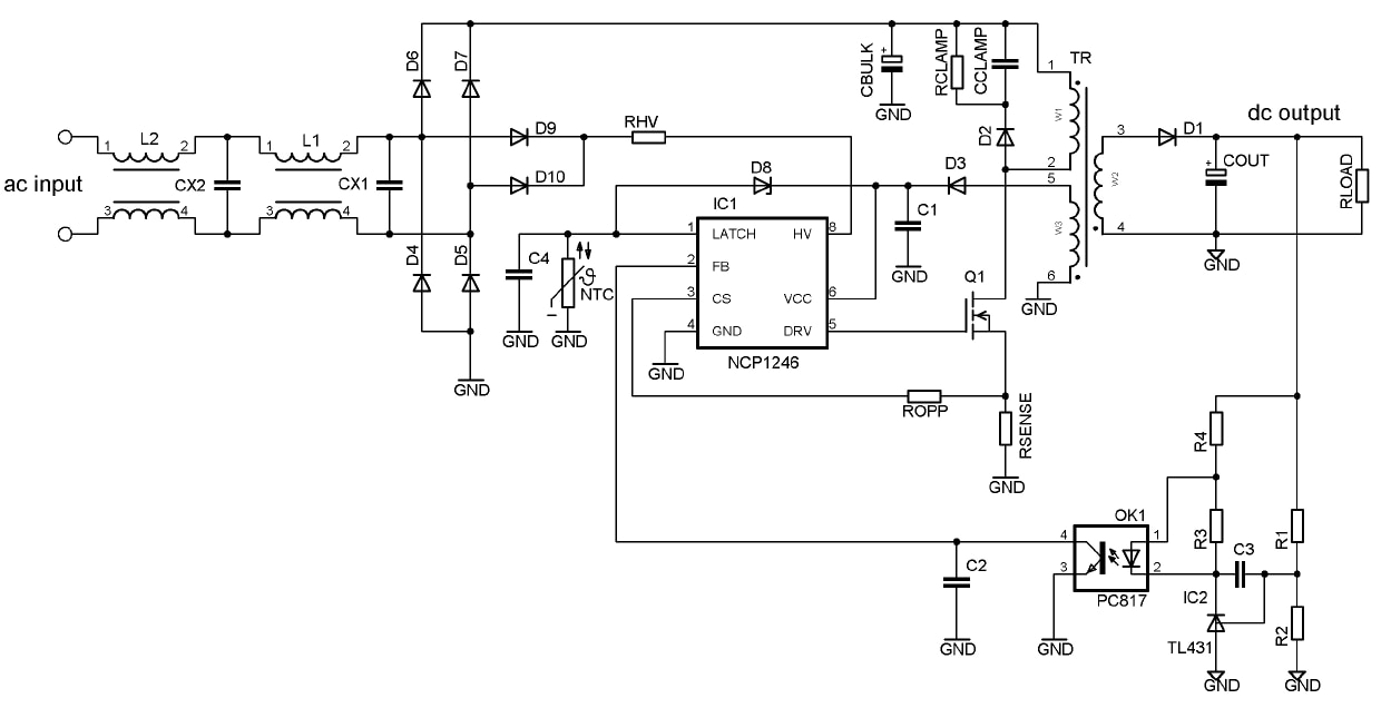 NCP1246: Controller, Fixed Frequency, Current Mode, for Flyback Converters