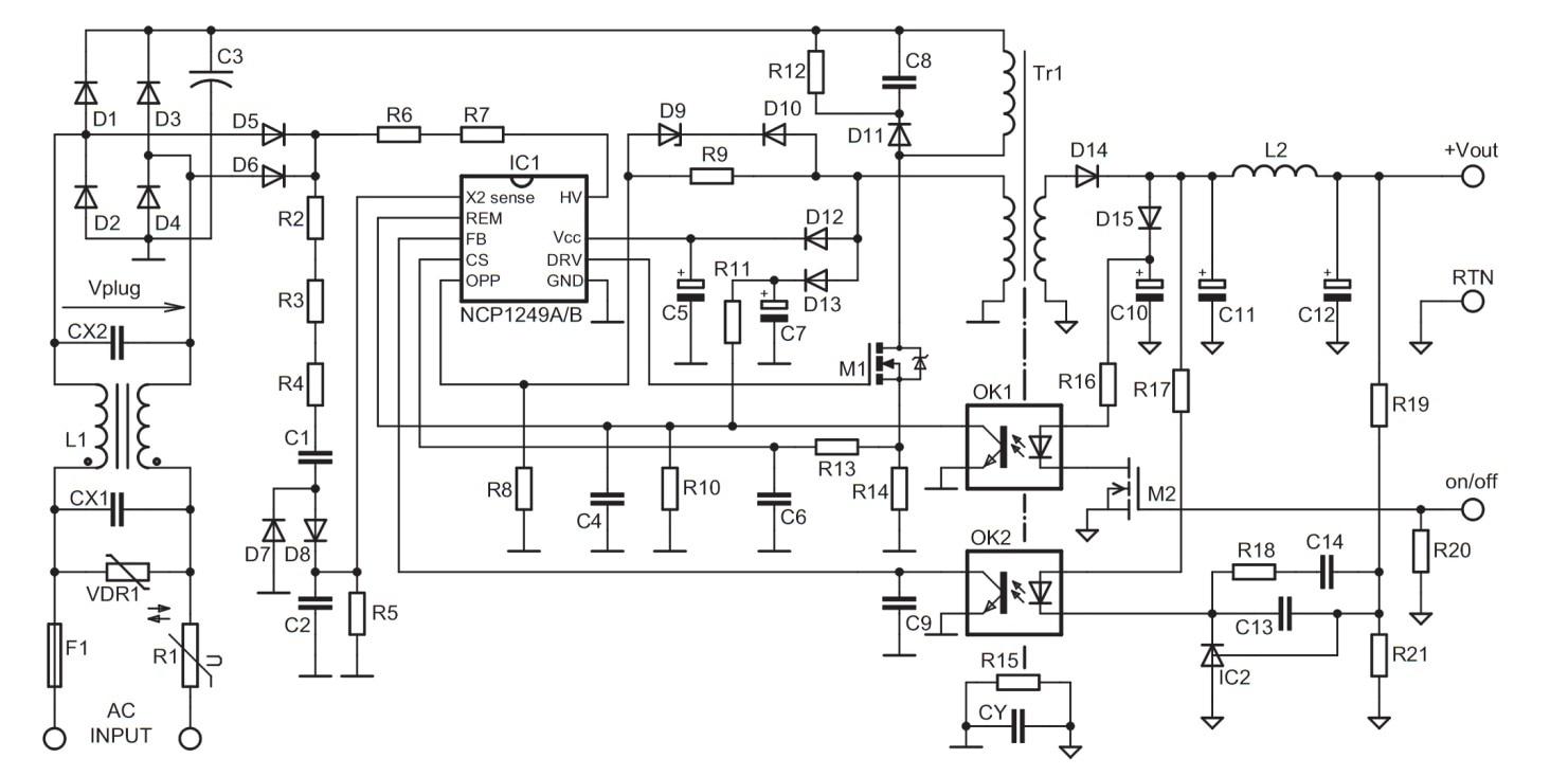 Ncp1249 Pwm Controller Featuring Peak Power Excursion And Hv Startup Flip Flop Using A Triac Circuit Diagram Blog 751bp
