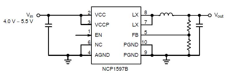 NCP1597B: Synchronous Buck Converter, 1 MHz, 2.0 A
