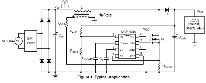 NCP1608: Power Factor Controller (PFC), Critical Conduction Mode, with Transconductance Error Amplifier