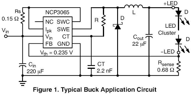 NCP3065: Buck / Boost / Inverting Regulator, Switching, Constant Current, 1.5 A, for HB-LEDs
