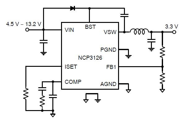 NCP3126: Synchronous Buck Regulator, High Efficiency, Switching, PWM, 3.0 A