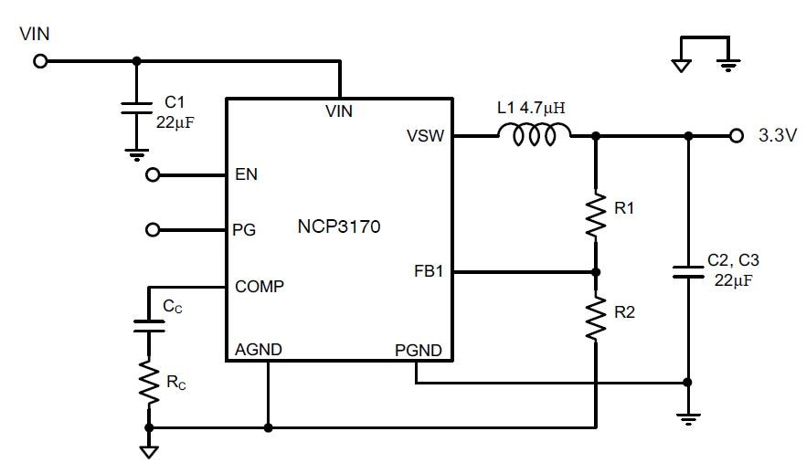 NCP3170: Buck Regulator, Switching, PWM, 3.0 A