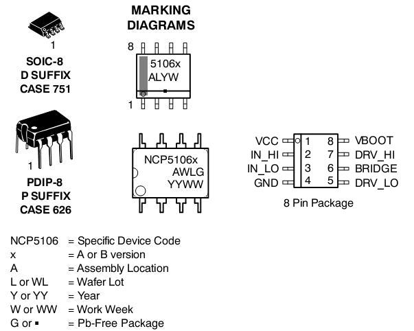 NCP5106: MOSFET / IGBT Drivers, High Voltage, High and Low Side