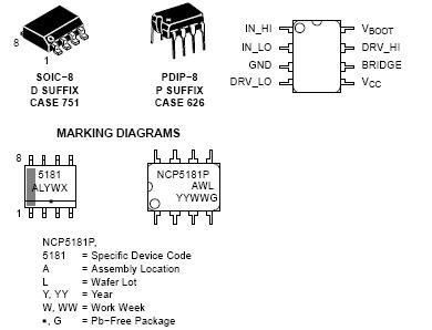 NCP5181: MOSFET / IGBT Drivers, High Voltage, High and Low Side, Dual Input