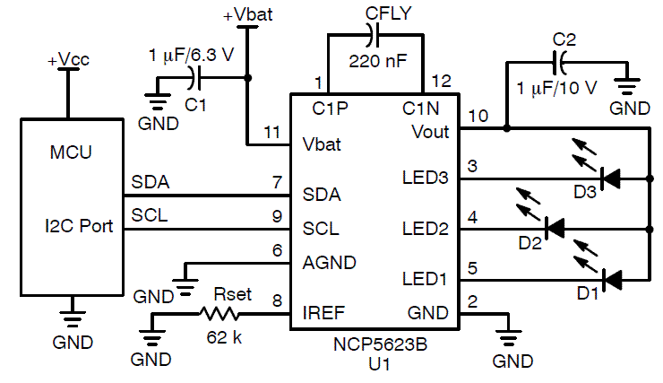 NCP5623B: LED Driver, Triple Output, RGB, I2C Controlled