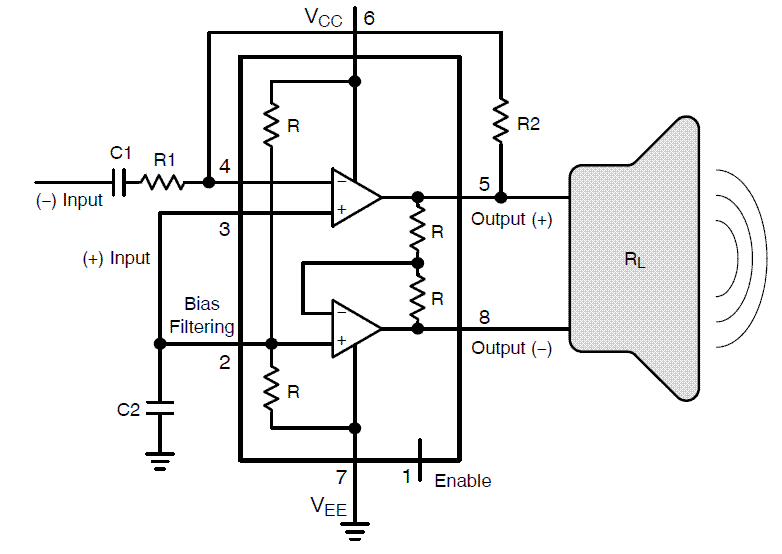 NCS2211: Audio Power Amplifier, Low Distortion, with Differential Output and Shutdown Mode