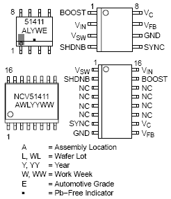 NCV51411: Buck Converter, Low Voltage, 1.5 A, 260 kHz, with Synchronization Capabilities