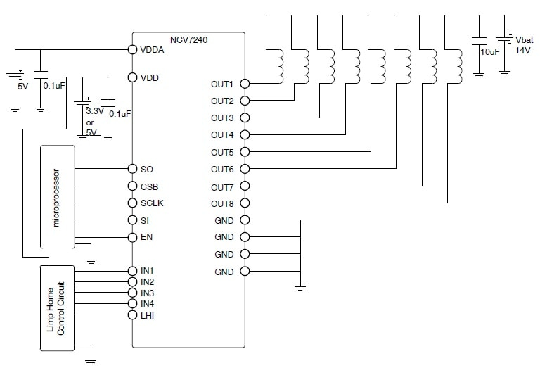 NCV7240: 8 Channel Low-Side Relay Driver
