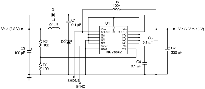 NCV8842: Buck Regulator, 1.5 A, 170 kHz, with Synchronization Capability