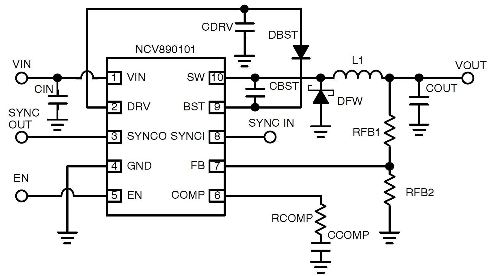 NCV890101: Automotive Switching Regulator, Buck, 1.2 A, 2 MHz