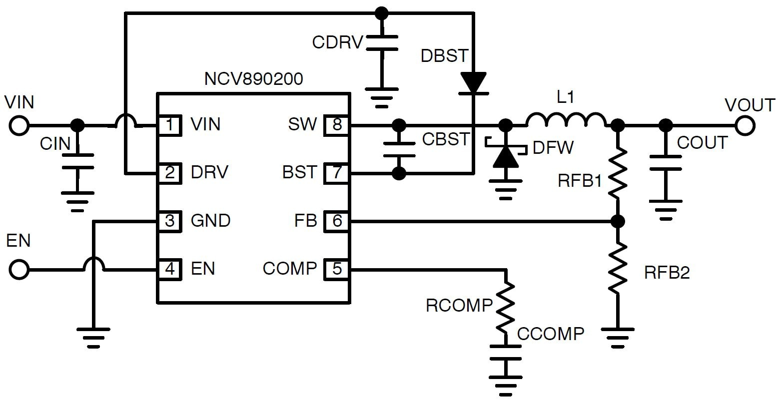 NCV890200: Automotive Switching Regulator, Buck, 2 A, 2 MHz