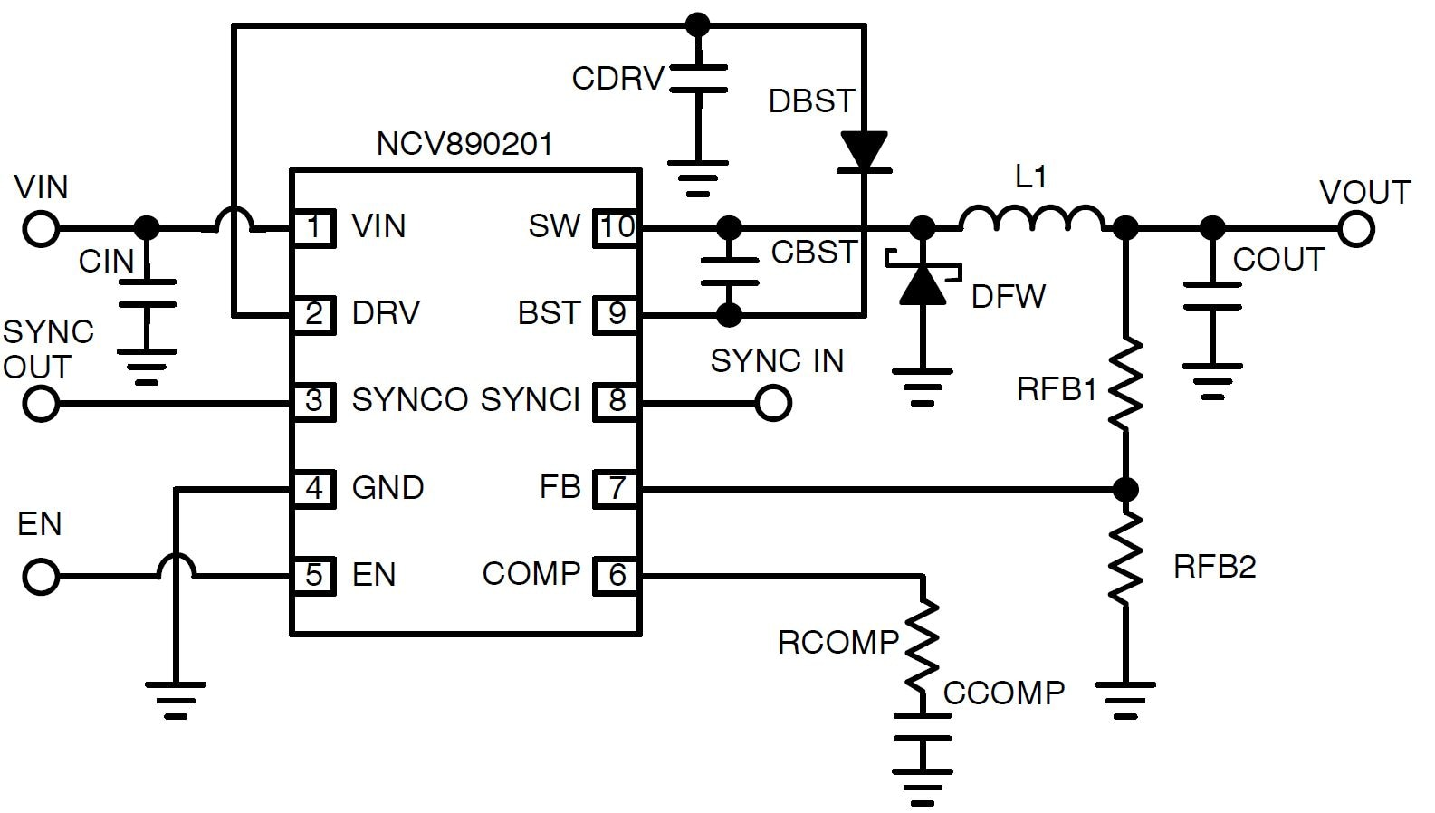 Ncv890201 Automotive Switching Regulator Buck 2 A Mhz Triac Motor Control Circuit Packages