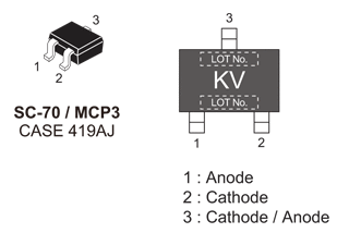 NSVP264SDSF3: RF Diode, Dual Series PIN for VHF, UHF and AGC