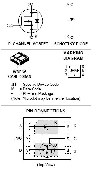 NTLJF3117P: Single P-Channel µCool™ Power MOSFET with Schottky Diode -20V -4.1A 100mΩ