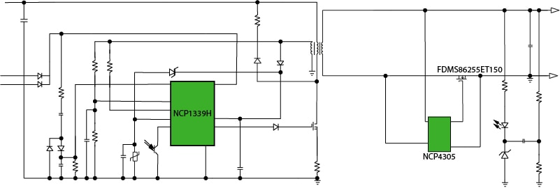 45 W Adapter NCP1339H Ultra High Density Design Block Diagram