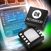 NCV896530 switching frequency dual channel step-down DC-DC buck converter.